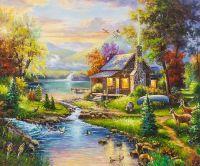Копия картины Томаса Кинкейда. Природный Рай