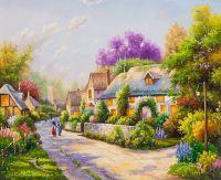 Копия картины Томаса Кинкейда. Cobblestone Village