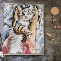 Теплые ладошки - картина с белым котом