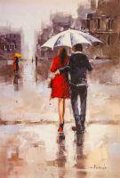 Влюбленные под белым зонтом