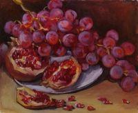 Натюрморт с гранатом и виноградом