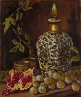 Натюрморт с серебряной бутылкой и виноградом