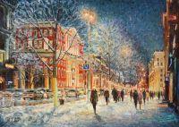 Как блещет снег в сиянье фонарей...