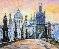 Вид на Костёл св. Франциска Ассизского с Карлова моста. Прага