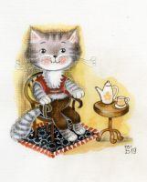 Котик за чашечкой кофе