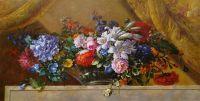 Копия картины Жана-Батиста Моннойера. Цветы в стеклянной вазе на мраморном выступе