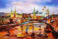 Вид на Кремль через Большой Каменный мост. Вечер