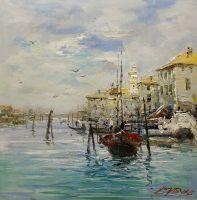 Лодки на фоне города. Штиль