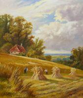 Копия работы Генри Паркера. A Sussex cornfield