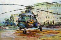 Вертолет на посадочной площадке