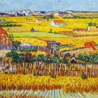 Копия картины Ван Гога.  Урожай в Ла Кро, и Монмажор на заднем плане