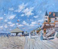 Копия картины. Променад на пляже в Трувиле, 1870