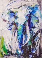 Портрет слона. Синий тон