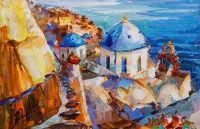 Белый остров Санторини и моря голубого гладь