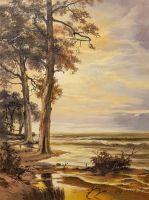 Закат на берегу. В оттенках сепии