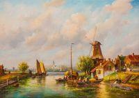 Голландский пейзаж с мельницей N2
