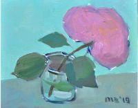 Розовая гортензия, живопись, картина маслом на холсте