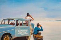 Копия картины Джека Веттриано. Bluebird. Land Speed Record