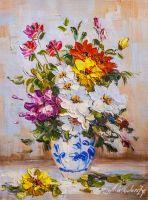 Разноцветный букет в вазе гжель