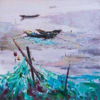 Пейзаж с рыбацкими лодками в бирюзовых тонах