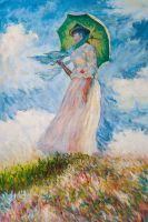Копия картины Клода Моне. Дама с зонтиком, повернувшаяся налево