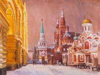Прогулки по снежной Москве. Вид с Никольской улицы на Красную площадь