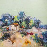 Цветущее Средиземноморье. Домики на холме