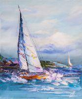 Белая яхта в синем море