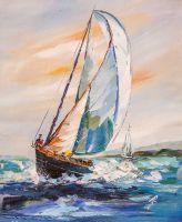 Белая яхта в синем море N2