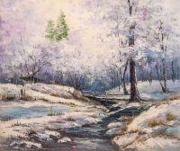 Ручей в зимнем лесу