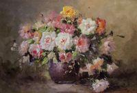 Букет роз в коричневой вазе
