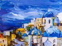Белый остров Санторини и моря голубого гладь N2