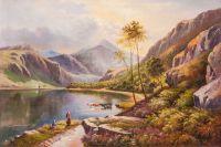 У горного озера. Вольная копия картины Перси Сидни Ричард Llyn-y-Ddinas, North Wales