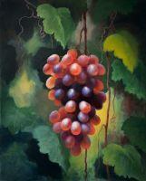 Виноград в саду. Красный виноград