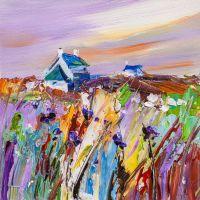 Сиреневый закат над васильковым полем