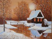 Зимний пейзаж с домиком