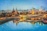 Вечерняя Москва. Вид на Кремль через Большой Каменный мост