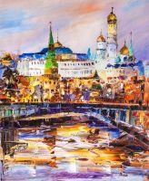 Вид на Кремль через Большой Каменный мост. Рассвет