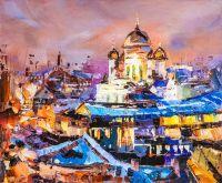 Вид на Храм Христа Спасителя. Сиреневый закат