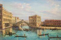 Венеция. Мост Риальто с палаццо деи Камерлинги Франческо Гварди