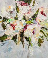 Цветочная абстракция с белыми пионами