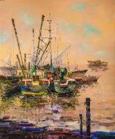 Рыбацкие лодки в закатном мареве