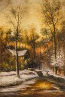 Зимний пейзаж. В золотых лучах заката