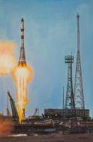 Старт ракеты Союз с космодрома Байконур