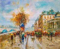 Пейзаж Парижа Антуана Бланшара La Gare Dorleans et le Quai Dorsay, копия