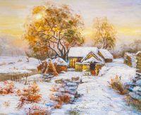 Деревенский домик. В лучах зимнего солнца