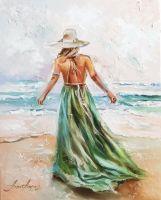 Изумрудное море, картина маслом на холсте