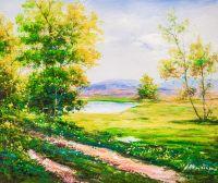 Летний день. Вид на озеро и горы