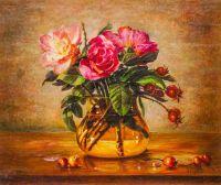 Натюрморт с шиповником в вазе