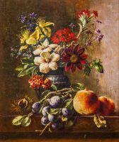 Копия картины Георга Якоба Иоганна ван Оса. Цветы в вазе с каштанами, сливами и персиками на выступе